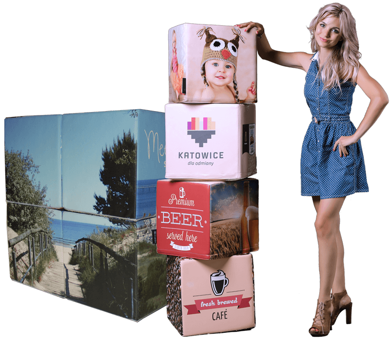 promotional cube, promotional cube with print, branded cube, branded cubes, printed cube, advertising cube, promotional cube seat, promotiona seat, Inventini